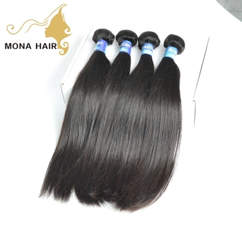 Strong sew in machine weft Mona virgin hair brazilian straight hair extensions