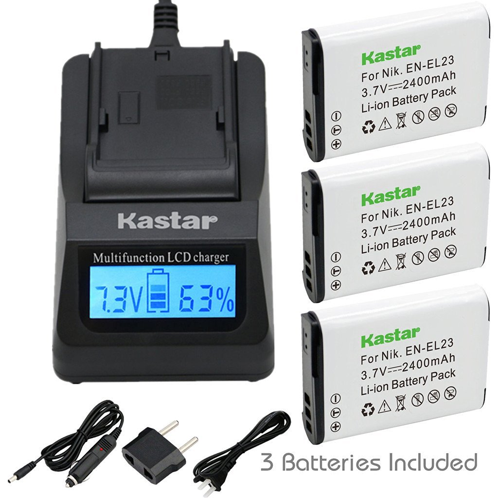 Kastar Ultra Fast Charger(3X faster) Kit and Battery (3-Pack) for Nikon EN-EL23, MH-67 work with Nikon Coolpix P600, S810c Digital Cameras [Over 3x faster than a normal charger with portable USB charge function]