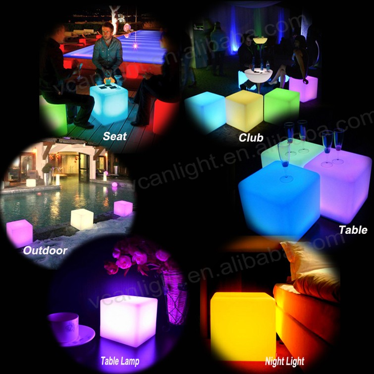 plastic led outdor light cube with waterproof remote control