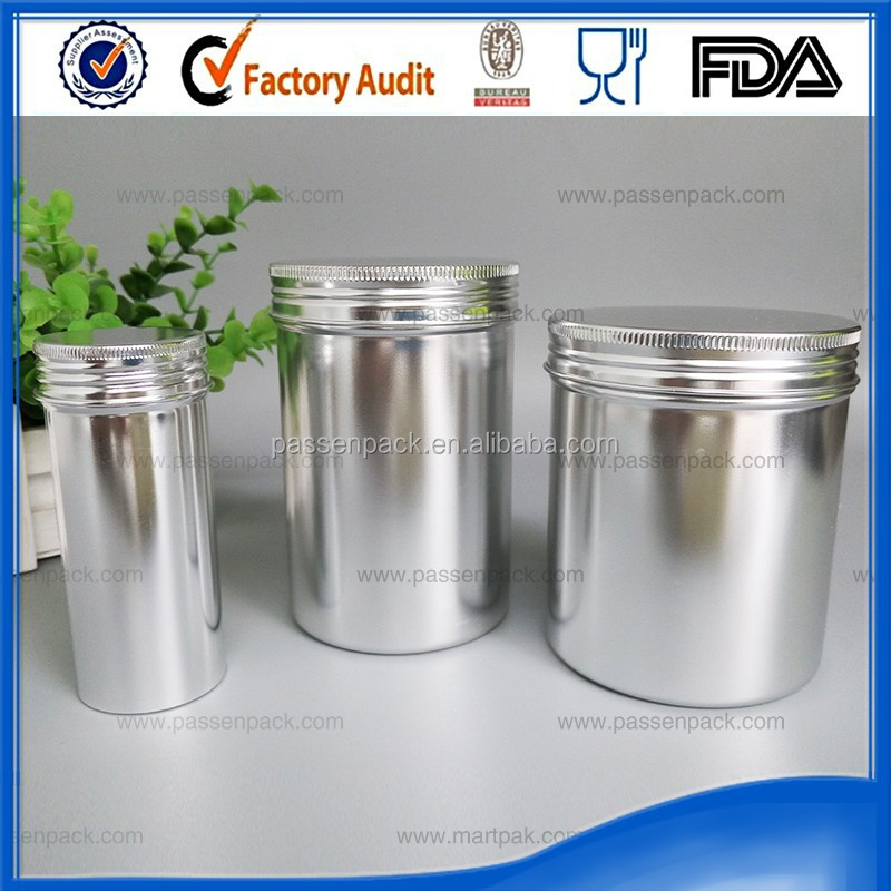Wholesale aluminum metal shining tin cookie can screw top