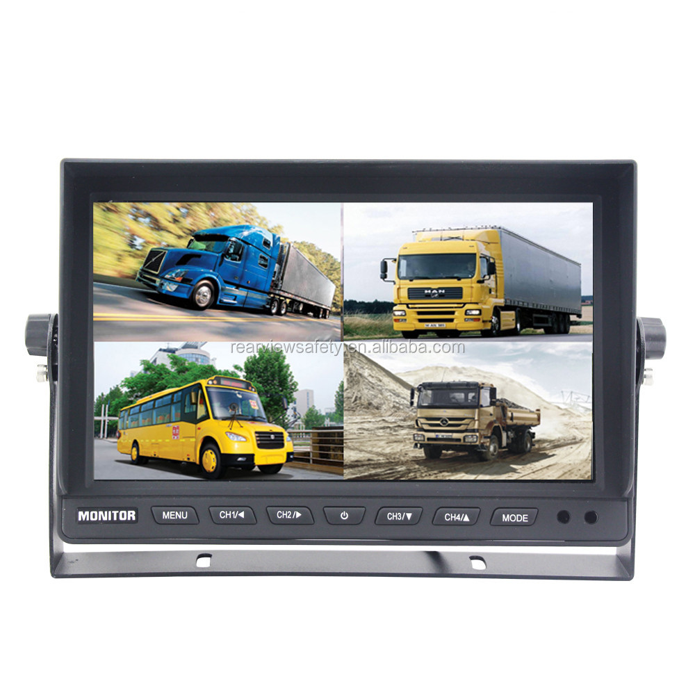 24V Bus truck accessories wide screen 9 inch car monitor backup PAL NTSC TV System auto switch with quad 4 display or 2 channels