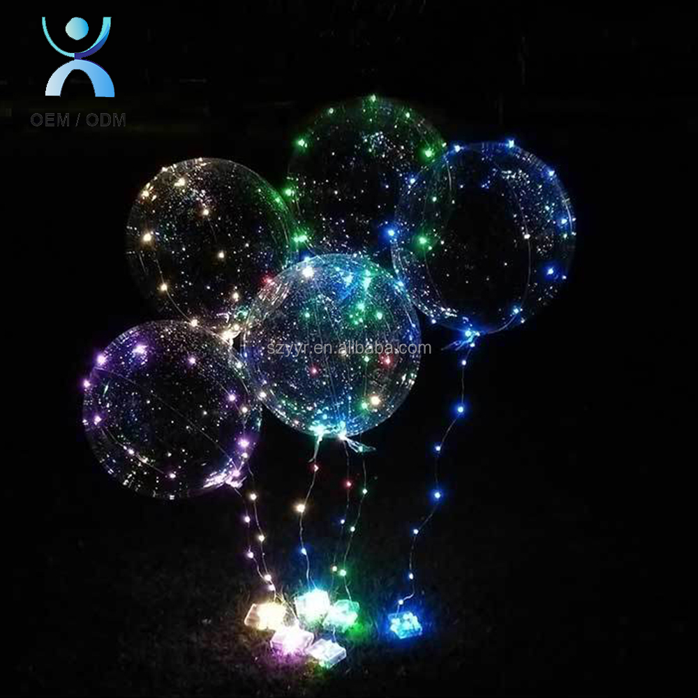 2018 new year party decoration inflatable light up bobo balloon lights flashing LED helium baloons