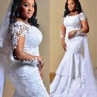0fd8b20b8ba XN1813 South African Mermaid Wedding Dress Lace Appliques Sheer Long  Sleeves Bridal Gowns Plus Size Sweep