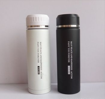 Portable Double Layer Clear Coffee Thermos Travel Mug Bottle Two Cup