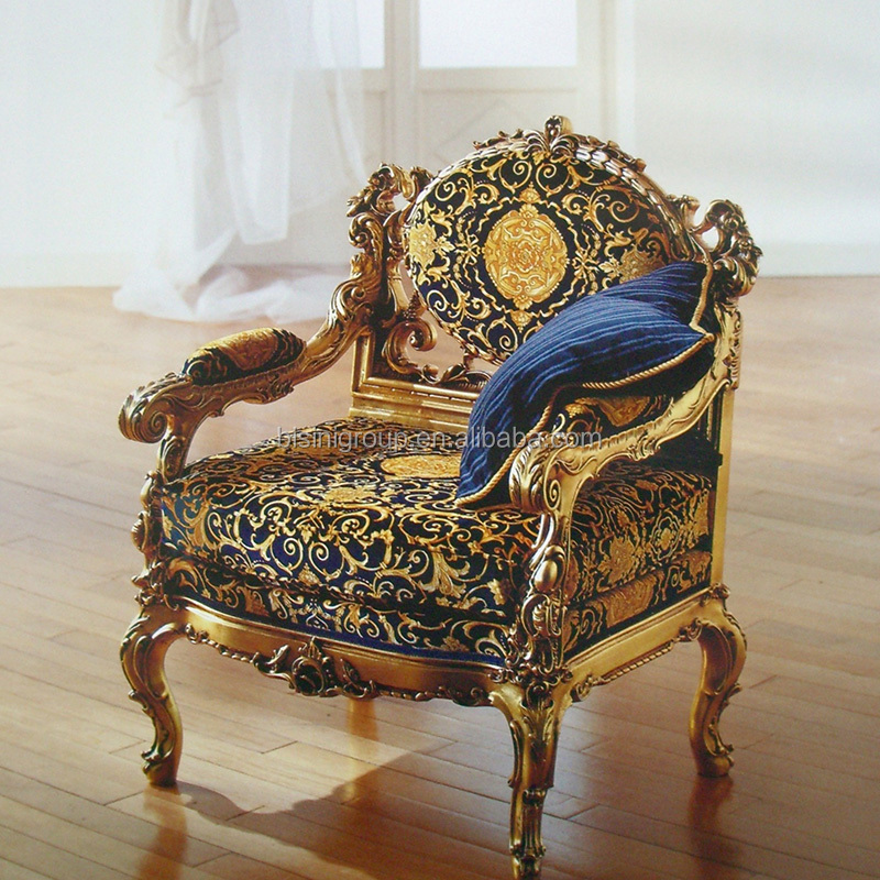 Royal Elegant Old World Style Golden Chair With Well Designed Fancy Fabrics Bf11 08171a