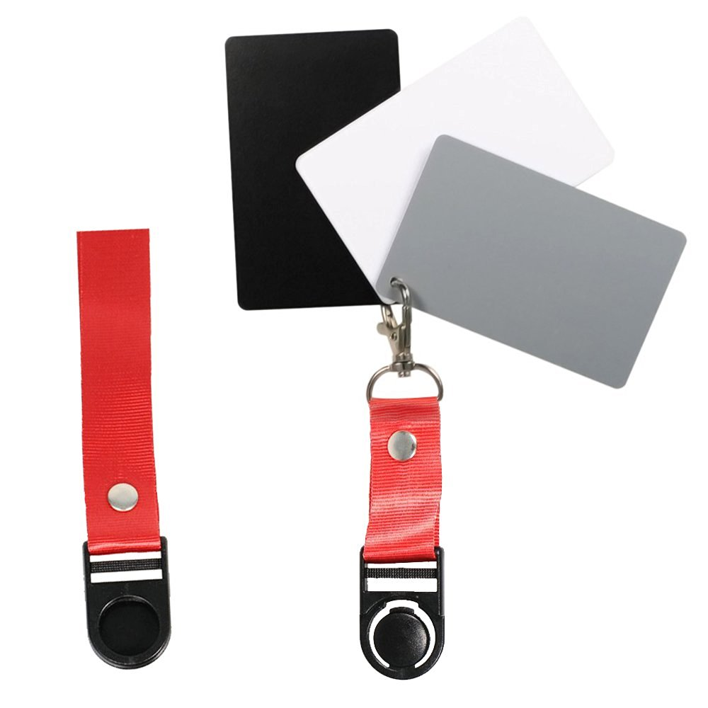 "FoRapid Premium Reference White Balance Card 18% Grey Card 3.3"" x 2.1""- 3 Card Set Digital Color Correction Tool Custom Calibration Camera Checker Cards for Video, DSLR & Film Photography w/ Lanyard"