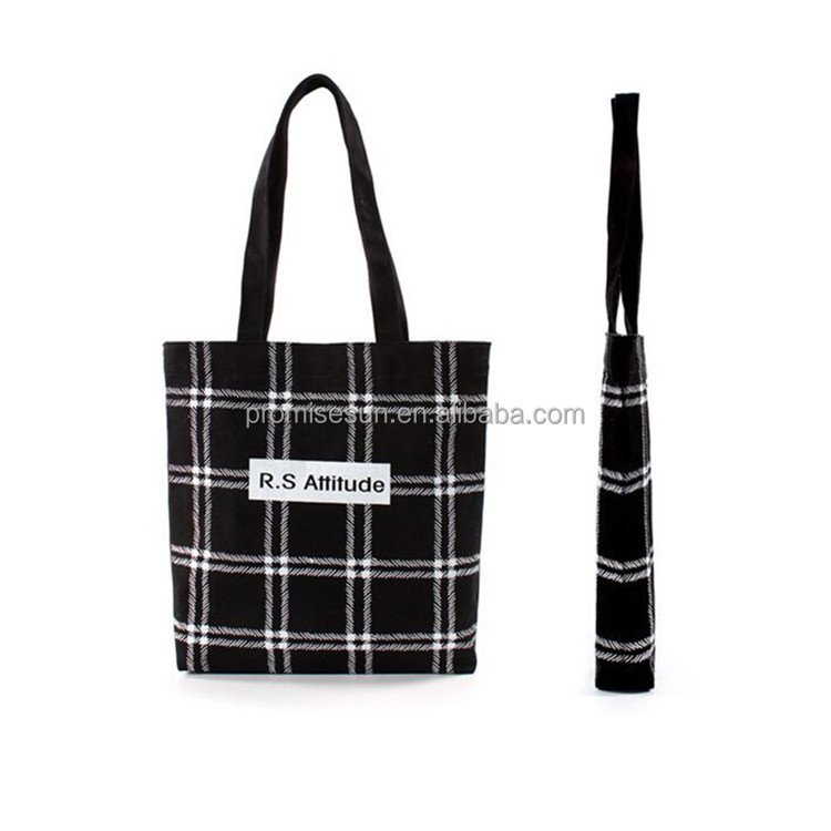 Latest Korean canvas bag cloth fashion grid handbag DIY custom canvas bag