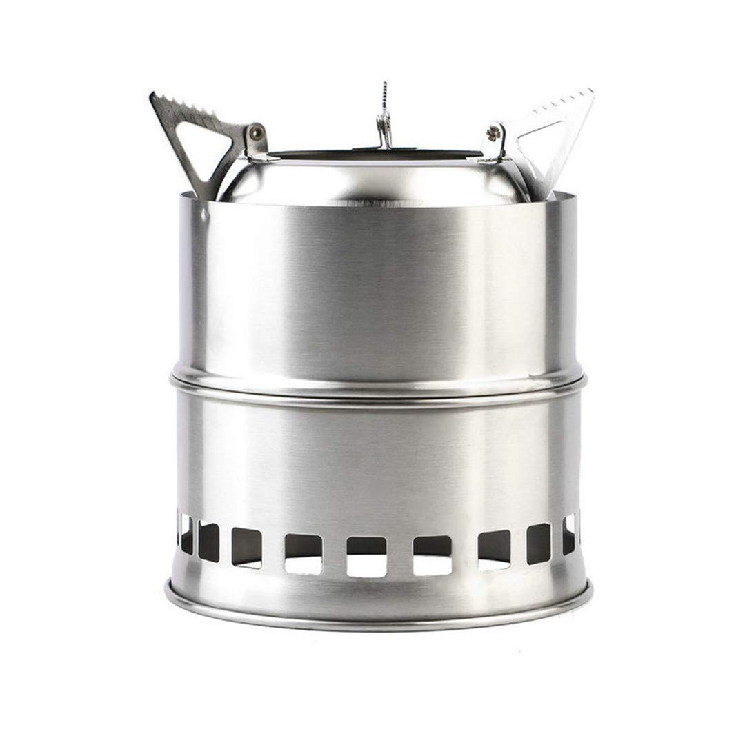 H-Henrne Portable Stainless Steel Camping Stove Outdoor Wood Stove Firewoods Furnace Lightweight BBQ Picnic Solidified Alcohol Stove New
