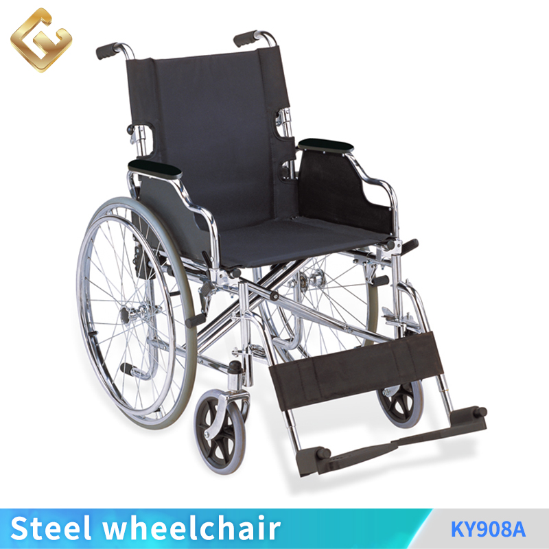 Nursing Handicapped Foldable Backrest Steel Wheelchair With Flip Up Armrest And Footrest