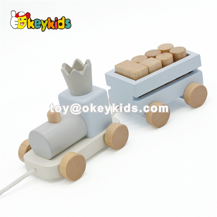 Wholesale pretty baby wooden Montessori toy contains of wooden xylophone toy&stacking blocks and pull train toy W12F032