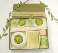 Olive Green Leaves Design Round Candles