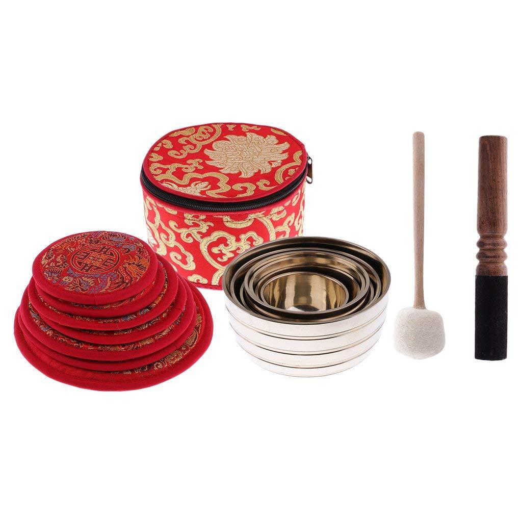 Dovewill Set of Chakra Copper Tibetan Singing Bowl with Cushion Striker for Meditation Dharma Buddhism Crafts