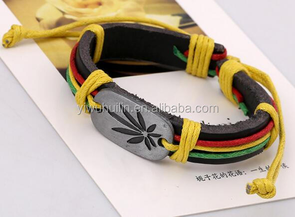 PK005 Huilin Jewelry Jamaica reggae red and yellow green hemp Pattern colored leather bracelet