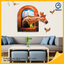 Un joven jirafa cute Art Decal PVC extraíble Sala decoración 3D etiqueta de la pared