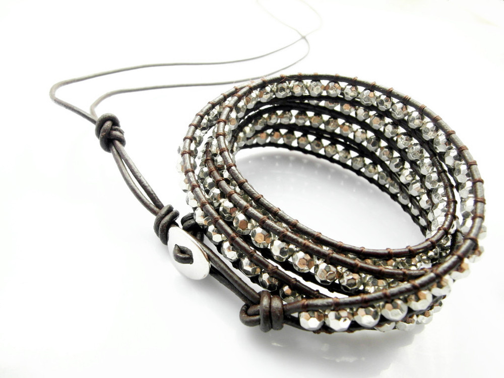 Wholesale 12 pcs/Lot New Pure handmade leather strand Wrap Bracelets  Silver Bead bracelets Fashion Jewerly