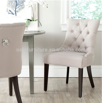 French Style Tufted Linen Fabric Upholstered Dining Chair With Pull Ring