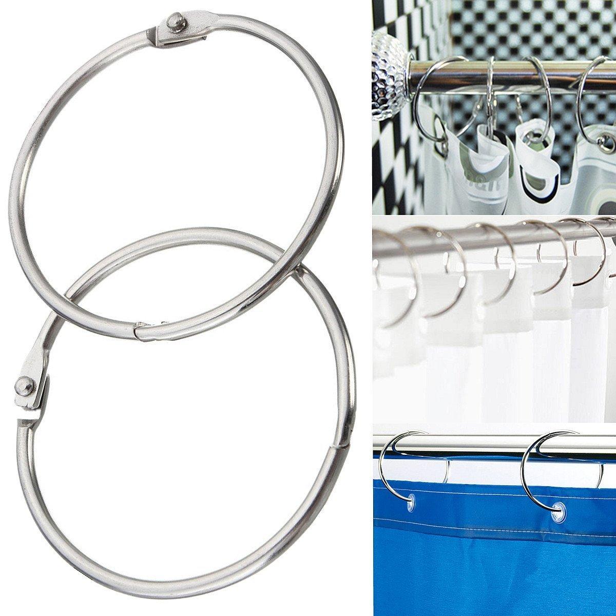 Geelyda 6PCS Metal Round Shower Curtain Hooks Book Rings Scrapbooking Nickel Plated Binding Rings Keychain Key Rings 3 inches