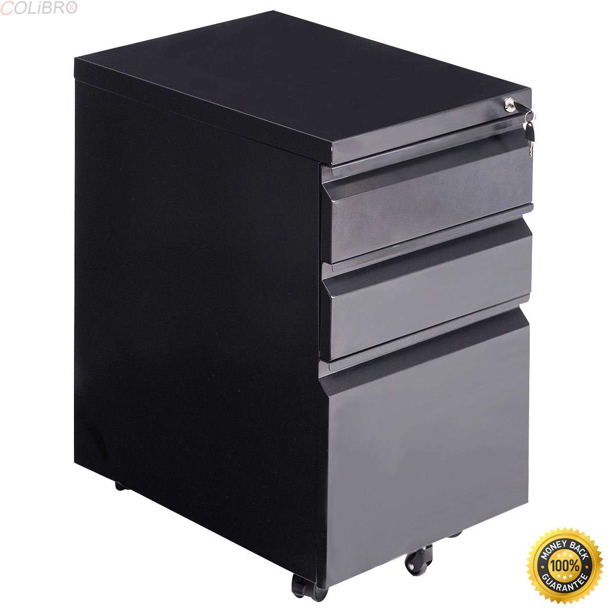 Get Quotations Colibrox File Cabinet Rolling Mobile A4 Drawers Pedestal Storage Steel Home Office Black