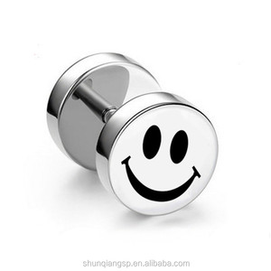Hot Sell Pure Titanium Stud Earrings With Smiling Face