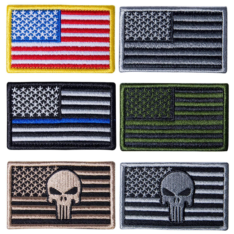 db5770b376d Get Quotations · Besteek 6 Pack American Flag Patch Hook Loop