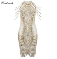2018 women fashion party embellished beaded nude funky dresses bodycon dresses