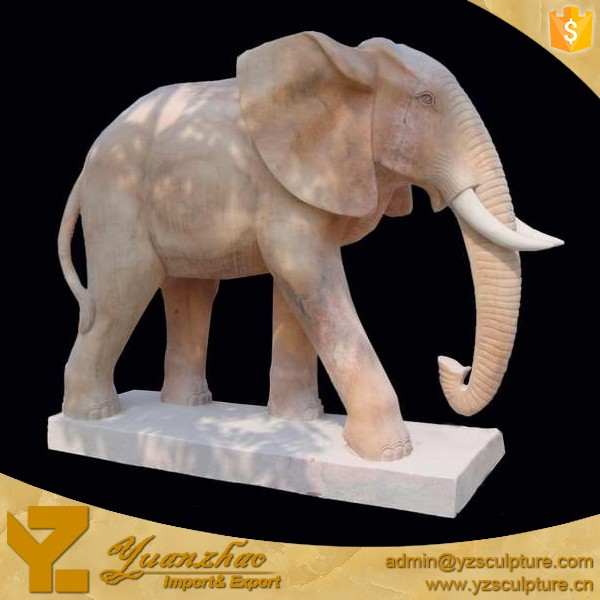 Large Outdoor Natural Stone Marble Elephant For Garden Decoration