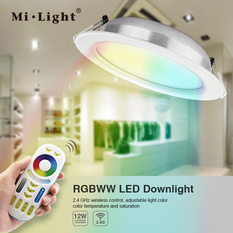 RGB+CCT 2.4G RF remote led recessed downlight colour changing led downlight dimming brightness 12W CE ROHS downlight