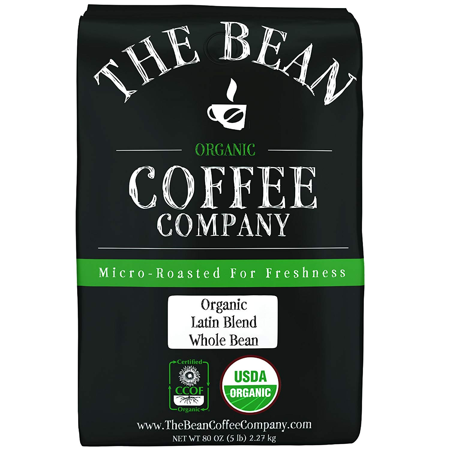 The Bean Coffee Company Organic Latin Blend, Medium Roast, Whole Bean, 5-Pound Bag