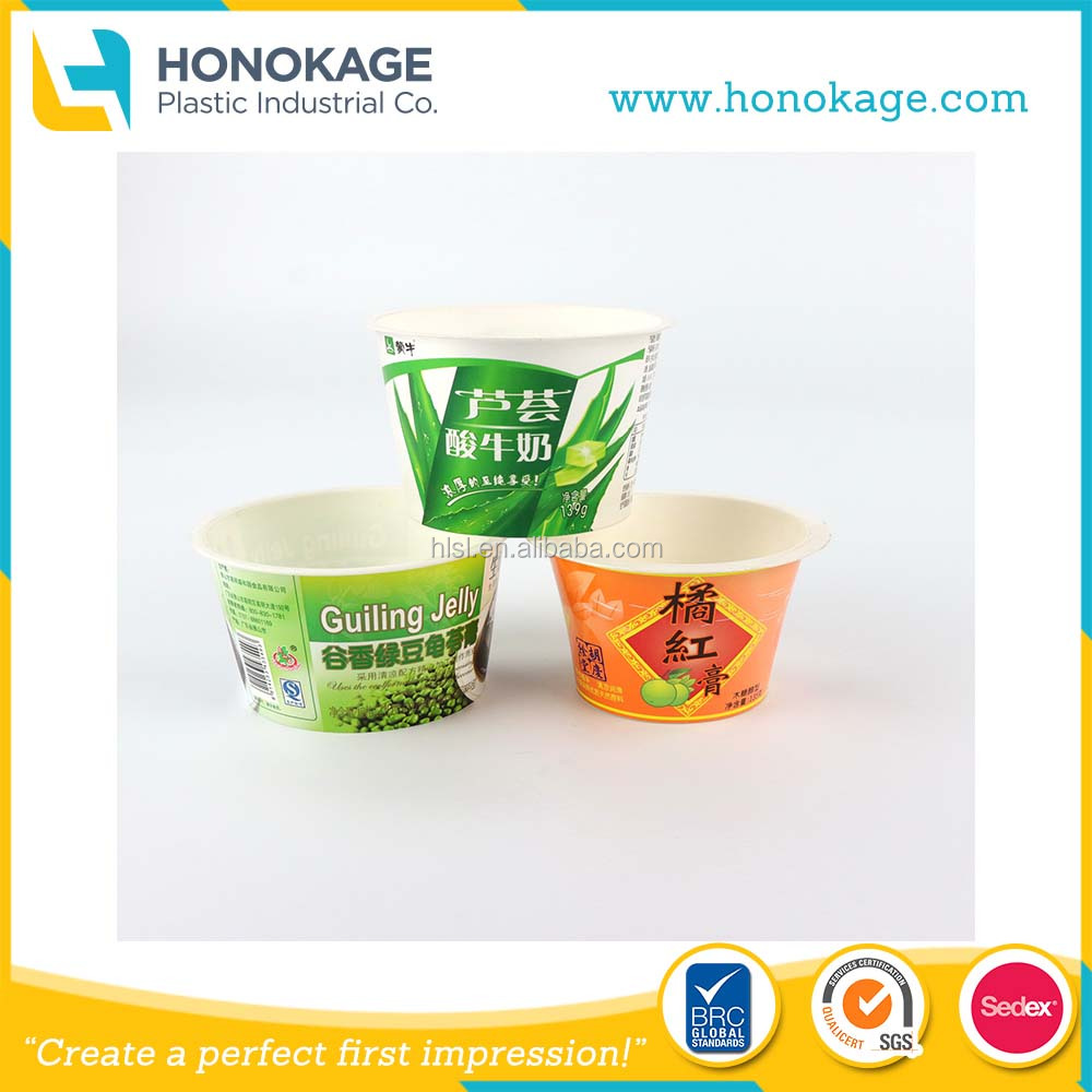 IML PP Plastic Cup / Frozen Yogurt Packaging With Aluminium Lid