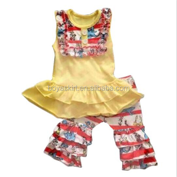 Newest Design Cotton Giggle Moon Remake Girl Summer Top Outfits Clothing Set