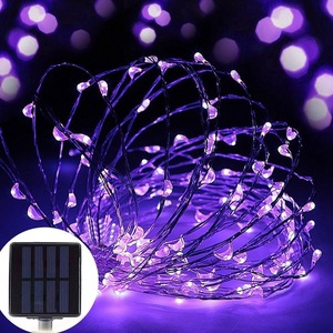 2 Pack 100 LED Solar Fairy Lights 33 feet 8 Modes Copper Wire Lights
