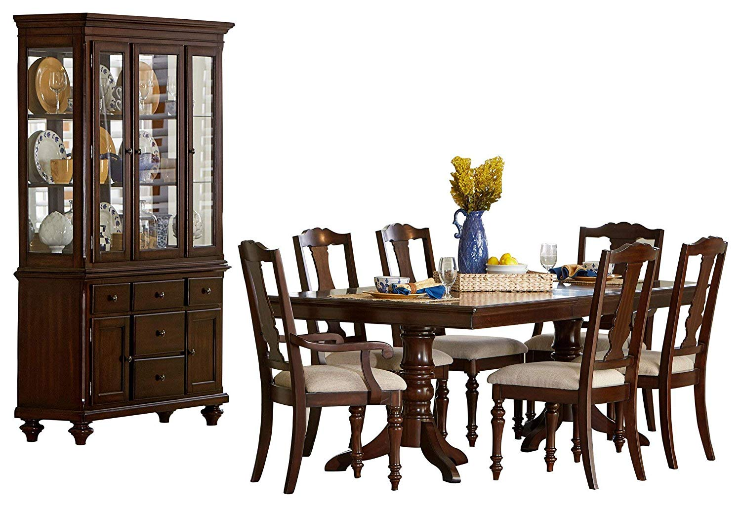 Get Quotations Grandman 8PC Dining Set Double Pedestal Table 4 Side 2 Arm Chair Buffet