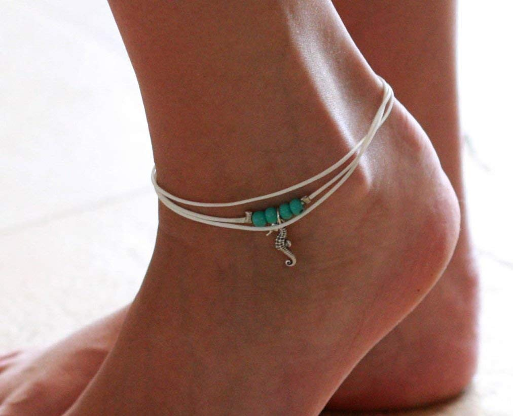Handmade White Anklet For Women Set With 4 Turquoise Beads and Silver Plated Sea Horse Pendant By Galis Jewelry - White Ankle Bracelet For Women - Beaded Anklet