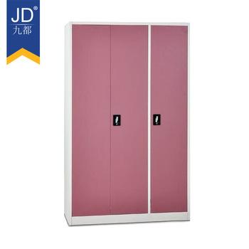 Colorful Rej Almirah Design Storage 3 Door Clothes Steel Wardrobe Locker Bedroom Furniture Metal Cabinet