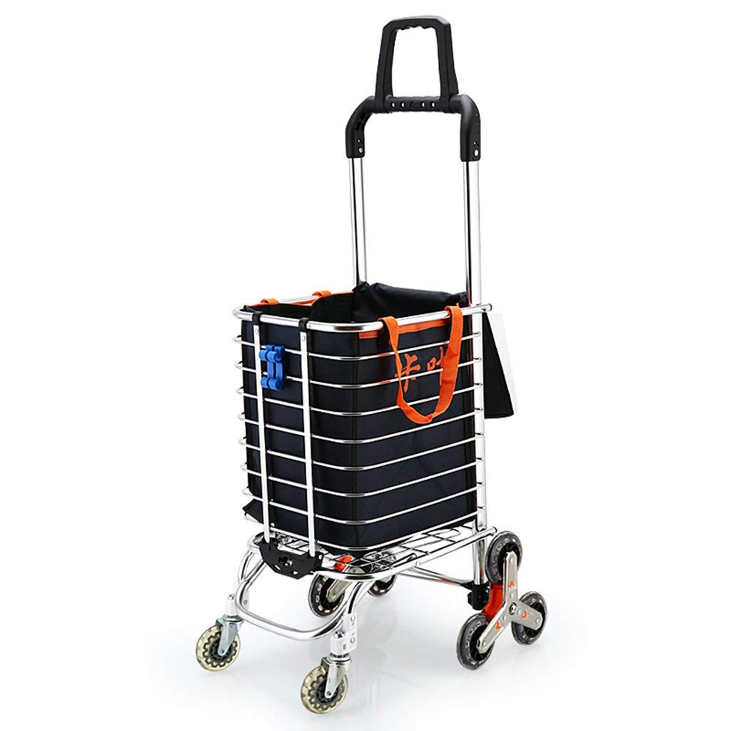 Utility Carts Shopping cart, climbing building portable shopping cart old people buying food small cart travel shopping bag aluminum alloy cart, bearing about 35KG (Color : Black, Size : 3045106cm)