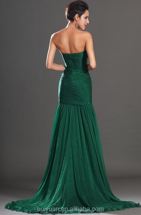88fbb39f10ba Elegante verde scuro Branelli Backless linea ad alta Abito con lo spacco  chiffon