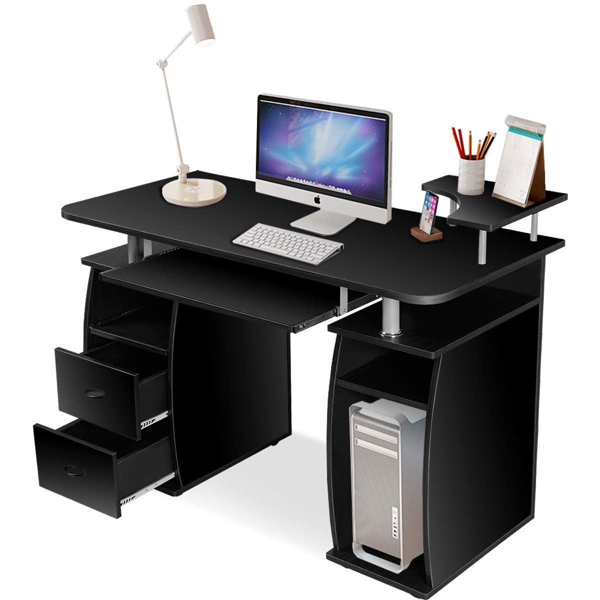 TANGKULA Wood Computer Desk Home Office Desk Laptop PC Computer Work Station with Storage Drawer, Pull-Out Keyboard Tray & Monitor and Printer Shelf (Black)