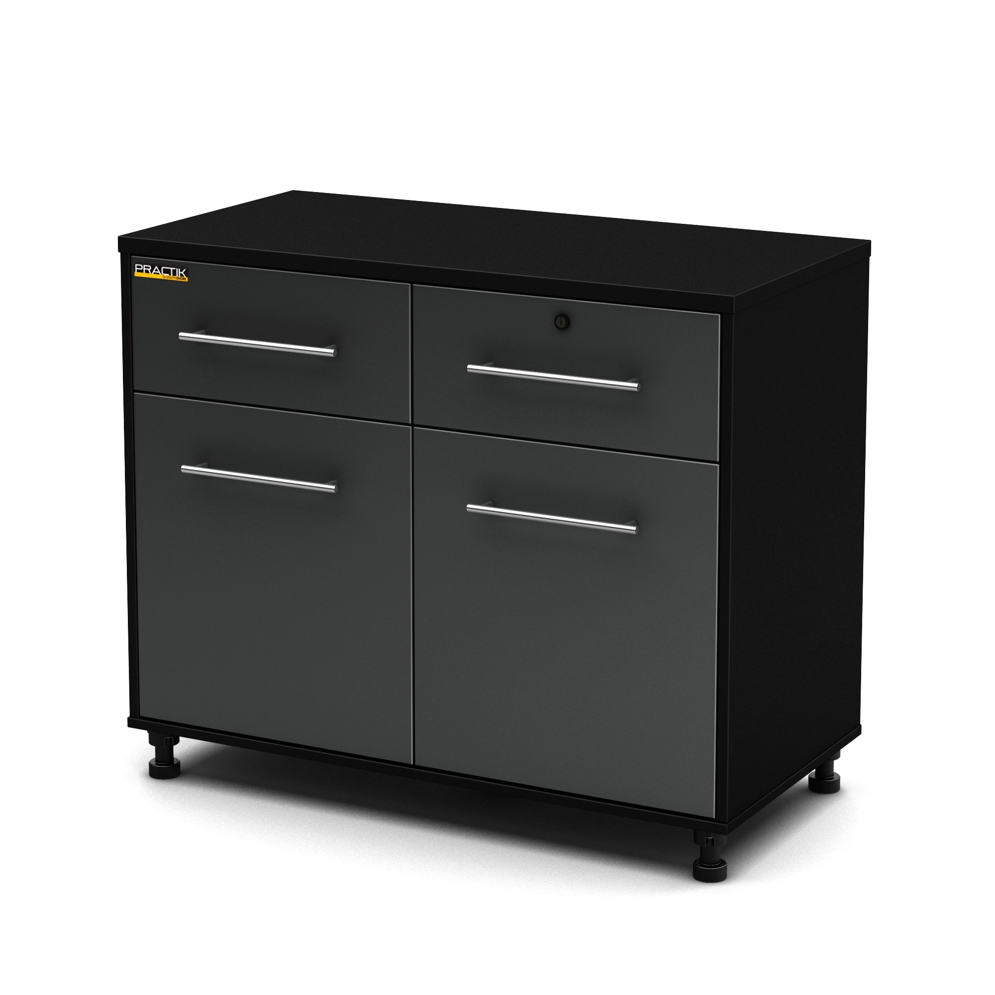South Shore Karbon 2-Door Base Cabinet with Adjustable Legs, Pure Black/Charcoal