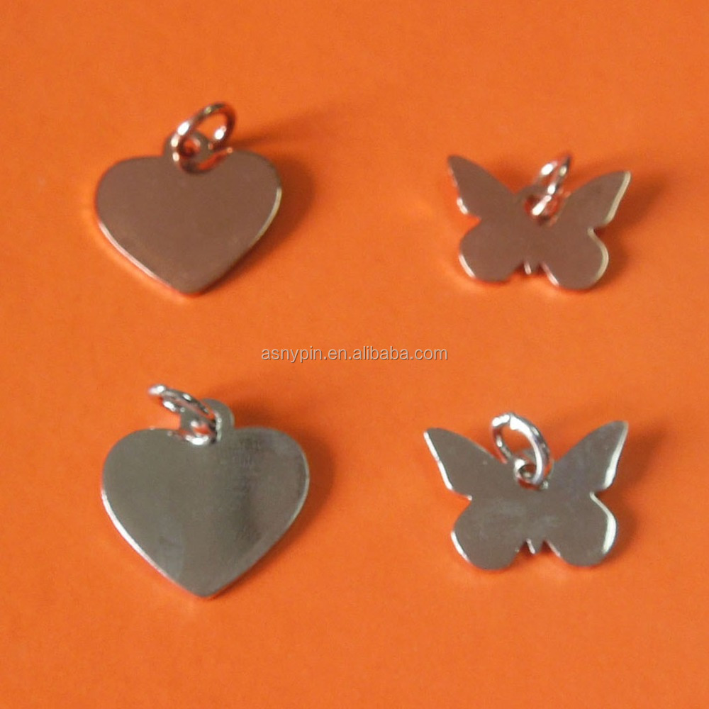 Shapes customized heart and butterfly pendant charm fashional metal jewelry tags