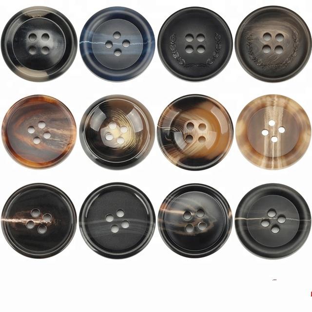 Negro Forma Redonda W-BOXINS 150 Botones de Costura de Resina de 25 mm Abrigo 4 Agujeros para Manualidades Trajes Costura
