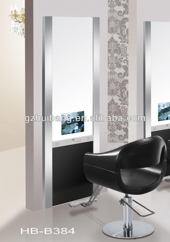 salon de coiffure miroir station station de style avec tv hb b384 autres meubles en verre id de. Black Bedroom Furniture Sets. Home Design Ideas