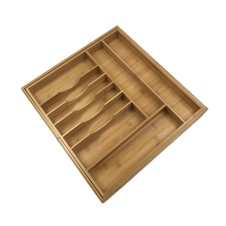 Premium Bamboo Expandable Drawer Organizer Cutlery And Utensil Caddy 13