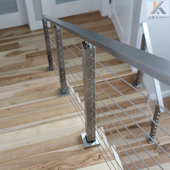 Indoor Stainless Steel Wire Rope & Posts Railing Systems For Wood ...