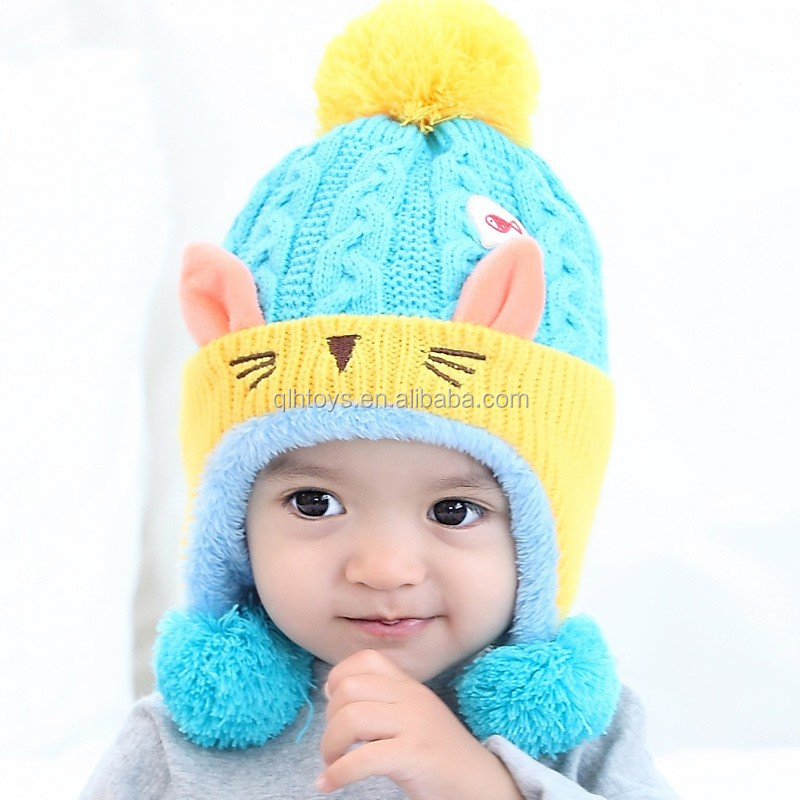 Apparel Accessories Girl's Hats Straightforward Cute Baby Winter Hat Warm Child Beanie Cap Animal Cat Ear Kids Crochet Knitted Hat For Children Boys Girls Hot New