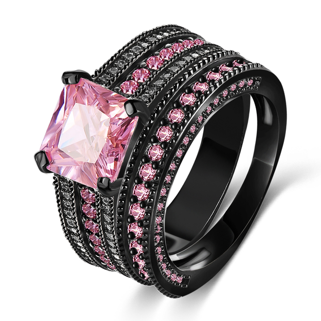 black onyx jewelry mens black pink wedding rings for women cri0474 b - Black Onyx Wedding Ring