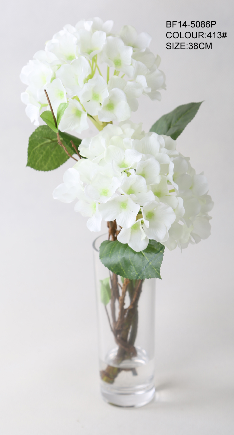 Hot Sale Artificial Flowers Silk White Hydrangea Flowers With Glass Vase