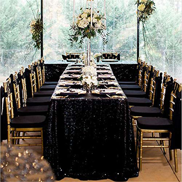 3mm PET 60x120 inch Polyester good quality Modern customized colorful dining party wedding Gold Square sequin tablecloth