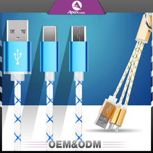 Factory price colorful usb keyring design portable mini short usb for iphone for Android 2 in 1 usb cable