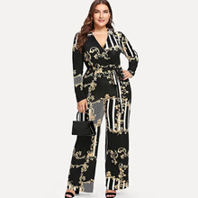 Newest <strong>designs</strong> plus size deep V printed <strong>trousers</strong> with belted jumpsuit lady <strong>pants</strong> <strong>for</strong> <strong>women</strong>