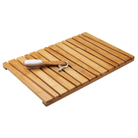 100% Angled Bamboo Non-Slip Rectangular Spa Bath Mat - for Bathroom Showers, Bathtubs or Floors